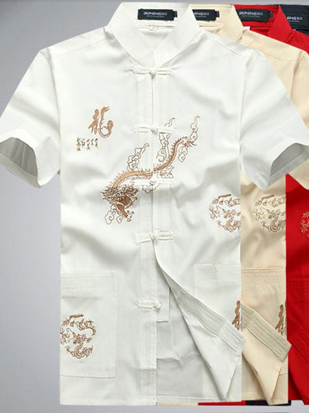Handsome Chinese Dragon and Calligraphy Top for Men (White)