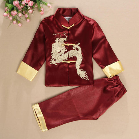 Handsome Dragon Satin Outfit for Boys and Juniors (Crimson/Wine)