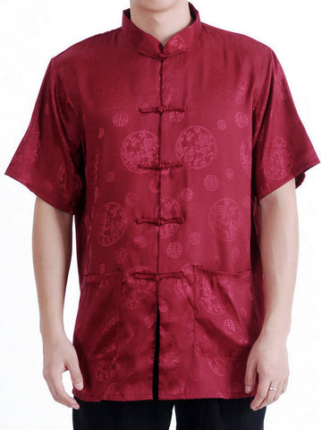 Crimson Satin Traditional Top for Men