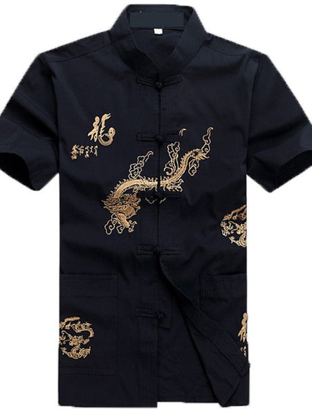 Handsome Chinese Dragon and Calligraphy Top for Men (Black)