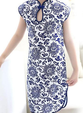 Blue-and-White Embroidered Flower Pattern Qipao Dress for Girls and Juniors