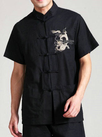 Handsome Dragon Pattern Top for Men (Black)
