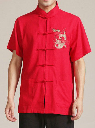 Handsome Dragon Pattern Top for Men (Red)