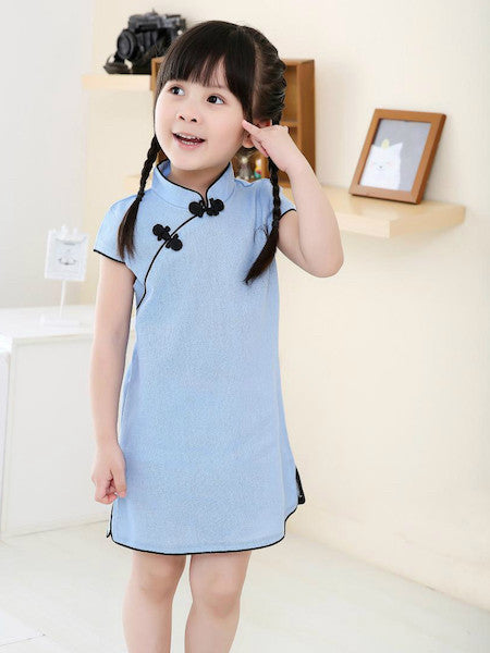 Elegant Chinese Qipao Dress for Girls and Juniors (Blue)
