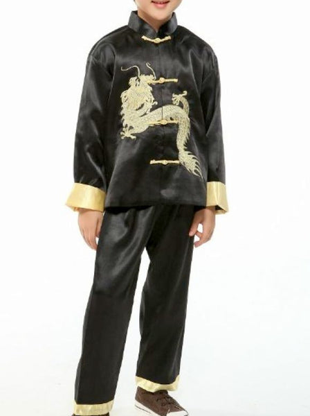 Statement Dragon Satin Outfit for Boys and Juniors (Black)