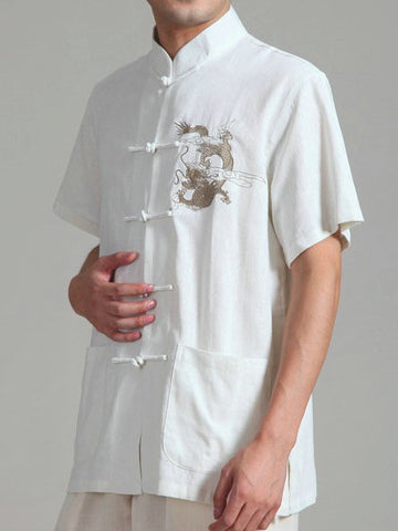 Handsome Dragon Pattern Top for Men (White)