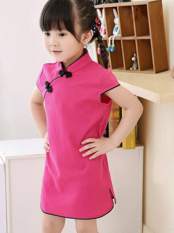 Elegant Chinese Qipao Dress for Girls and Juniors (Hot Pink)