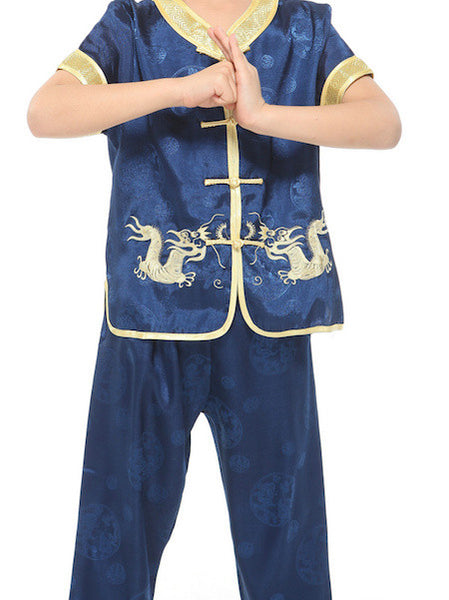 Boys Two-Piece Traditional Embroidered Dragon Outfit (Blue)