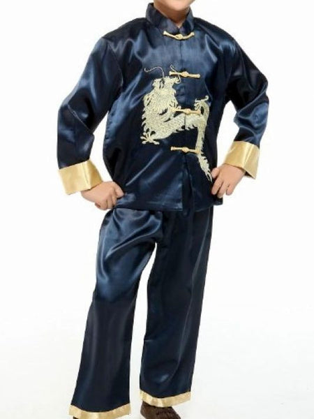 Handsome Dragon Satin Outfit for Boys and Juniors (Navy)