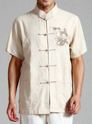 Handsome Dragon Pattern Top for Men (Beige)