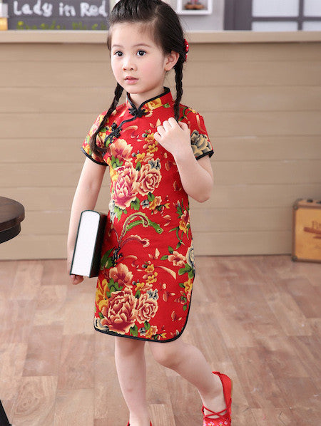 Beautiful Western Chinese Print Qipao Dress for Girls and Juniors (Red)