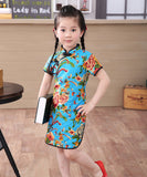 Beautiful Western Chinese Print Qipao Dress for Girls and Juniors (Blue)