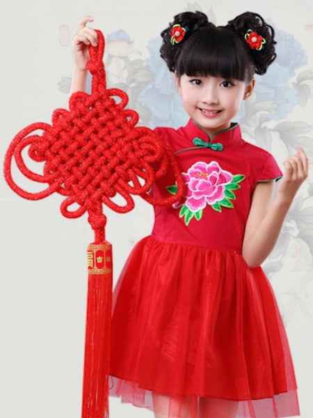 Modern Style Stunning Red Qipao Dress for Girls and Juniors