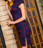 Plaid Chinese Qipao (Dress) with Beautiful Print