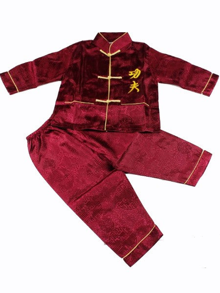 Boys Two-Piece Black Stain Outfit (Wine Color)