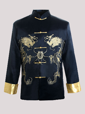 Embroidered Double Dragon Men's Top