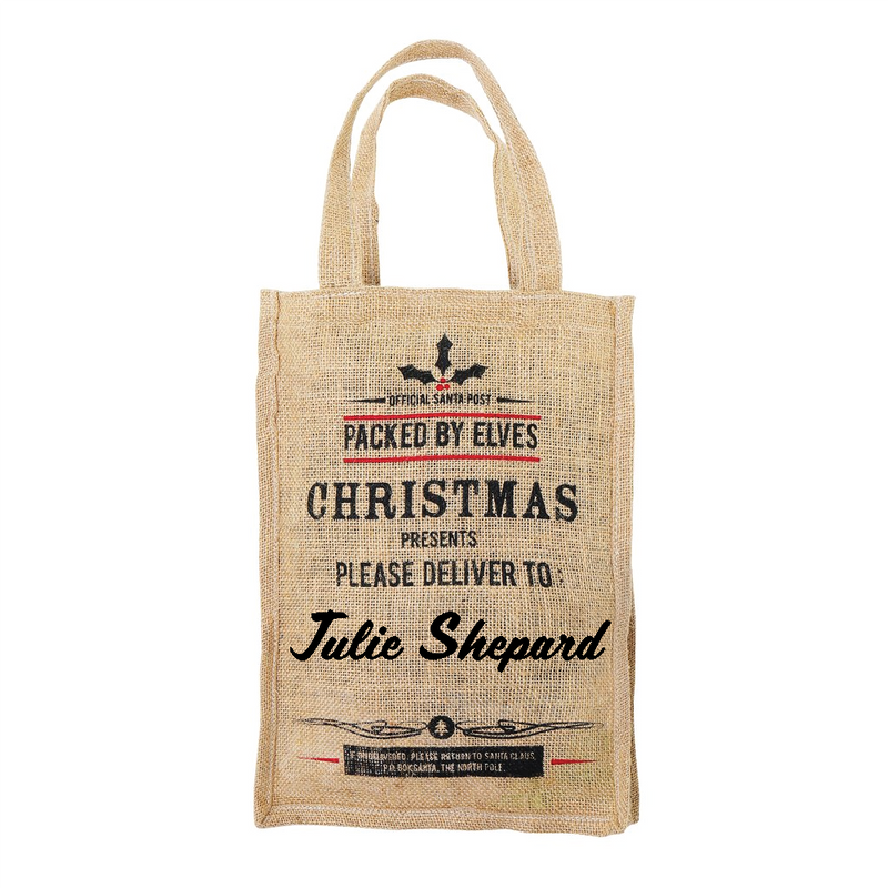 Personalised Small Christmas Jute Bag with Handles