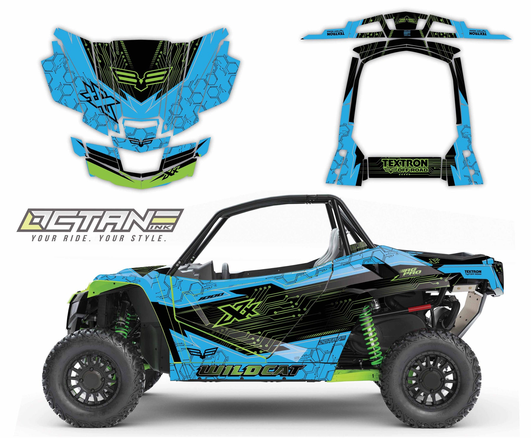 Octane Ink Wrap for Wildcat XX - 6-CIRCUIT - GREEN/BLUE