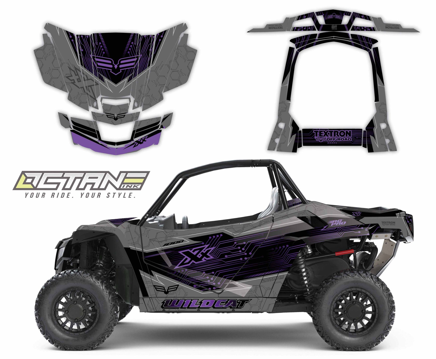 Octane Ink Wrap for Wildcat XX - 6-CIRCUIT - PURPLE/GRAY