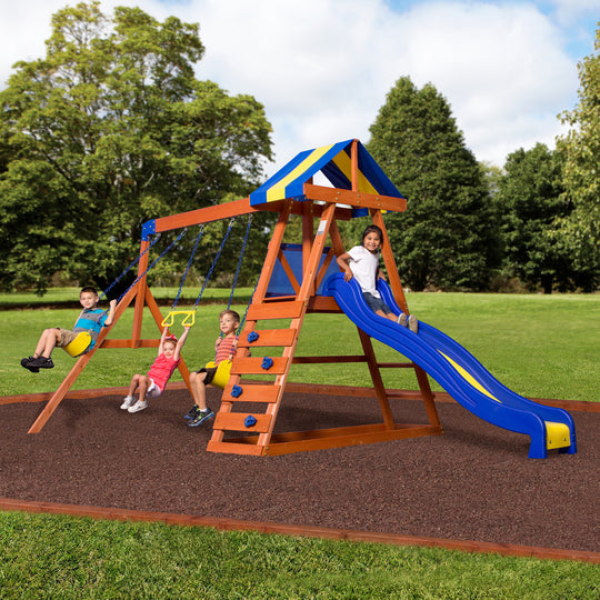 Backyard Discovery Dayton Wooden Swing Set Kids Outdoor Playhouse With Slide