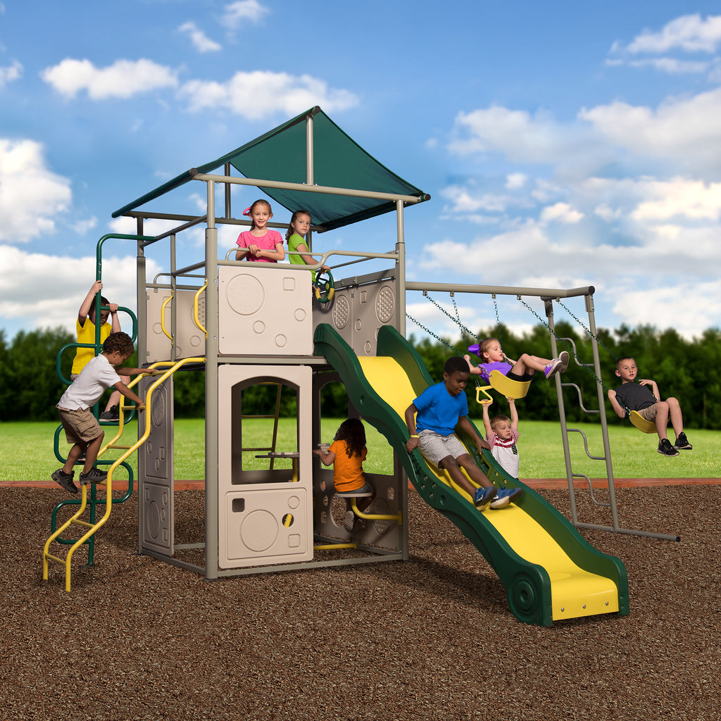 gray playsets metal grey set swingsets cob castle product and tn back sets swing nashville