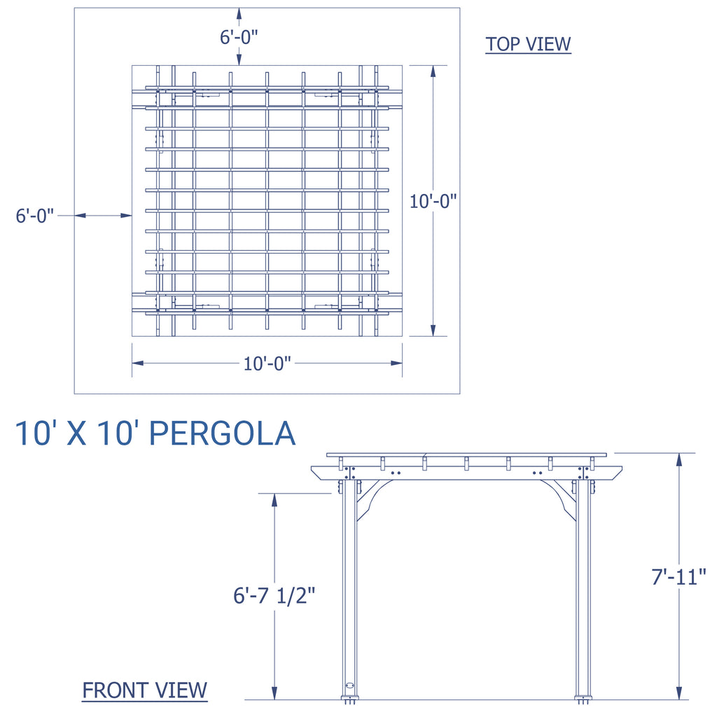 10x10 Pergola Designs: 10' X 10' Wooden Pergola For Patios