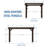 14x10 Ashford traditional Steel Pergola Diagram