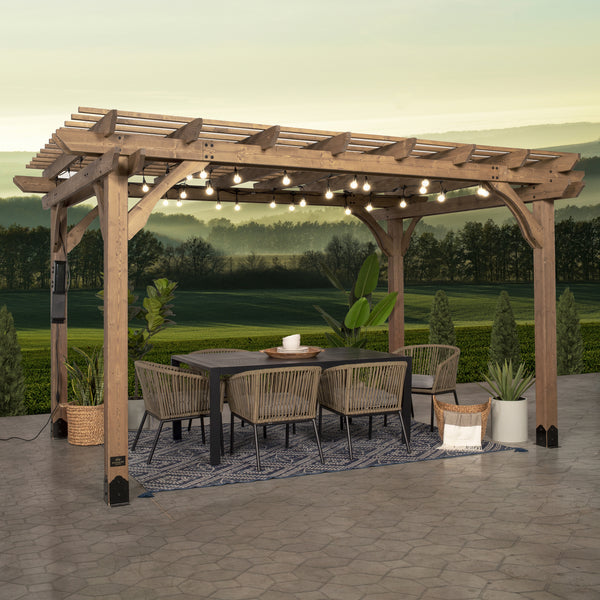 14x10 Fairhaven Pergola Rustic Finish