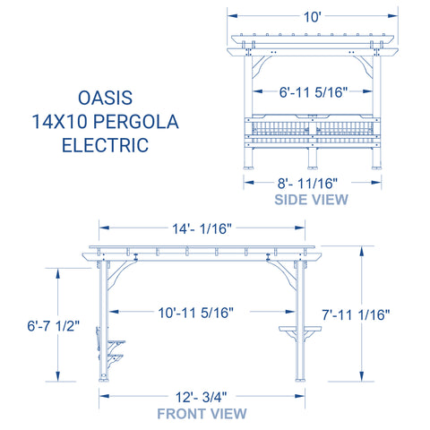 Oasis 14 x 10 Pergola With Electric#details