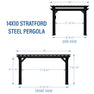 14x10 Stratford Traditional Steel Pergola Diagram