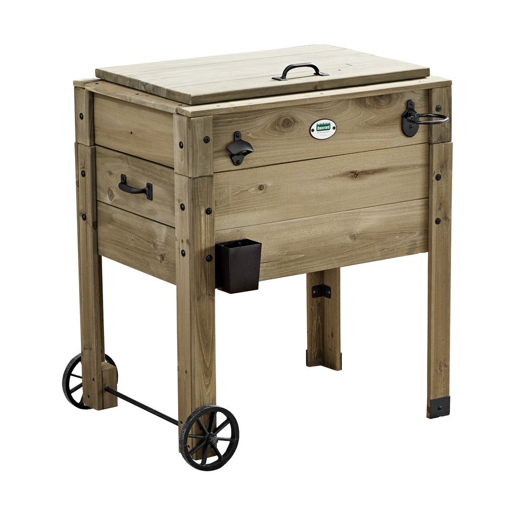 Outdoor Cooler with Cup Holder - Barnwood | Backyard Discovery