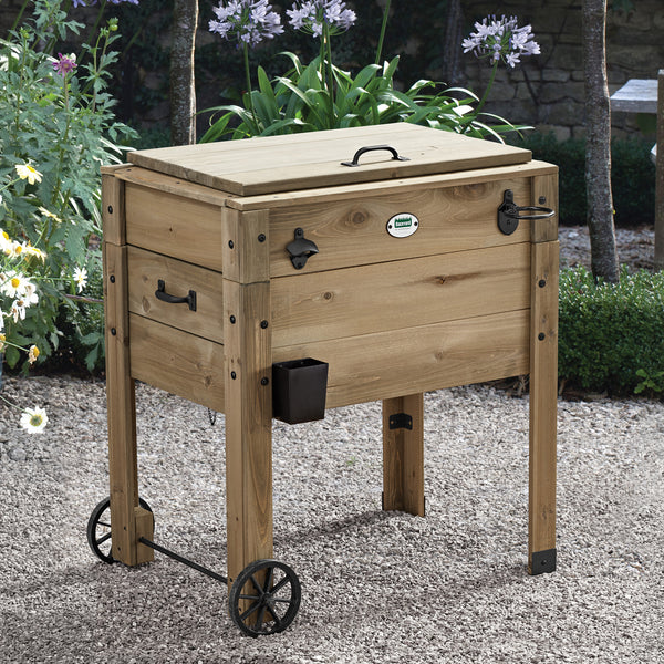 Outdoor Cooler with Cup Holder - Barnwood