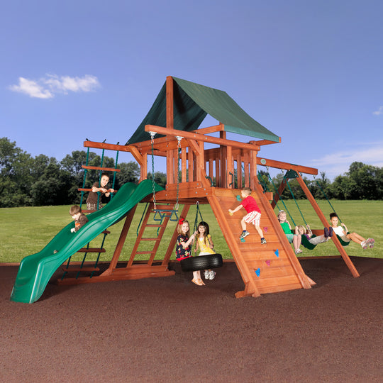 Avalanche Wooden Swing Set with Tarp Roof #main