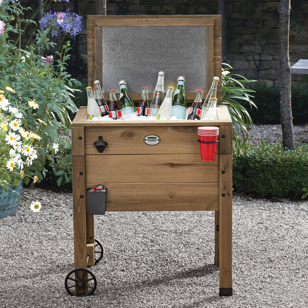 Outdoor Cooler with Cup Holder Brown