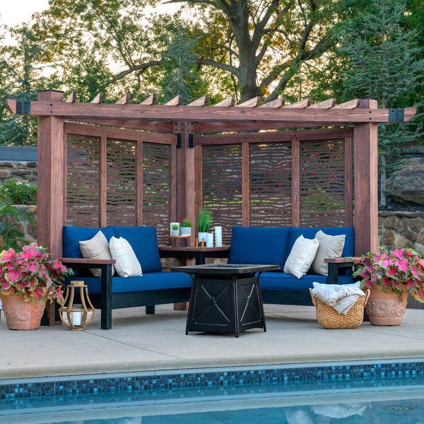 Fireside Cabana Pergola with Conversation Seating
