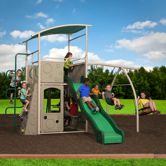 Backyard Discovery Playsets - Castle Grey Metal Swing Set#main