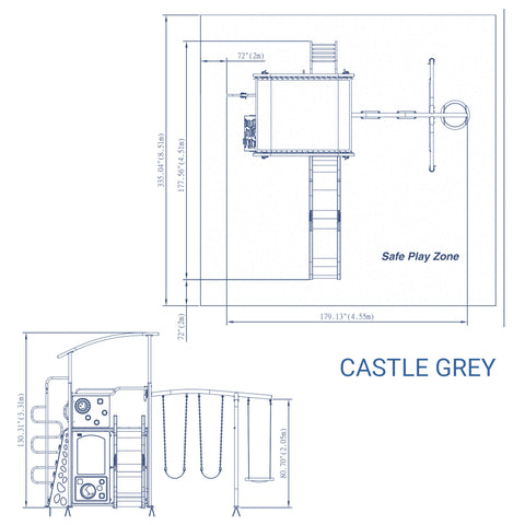 Backyard Discovery Playsets - Castle Grey Metal Swing Set#details