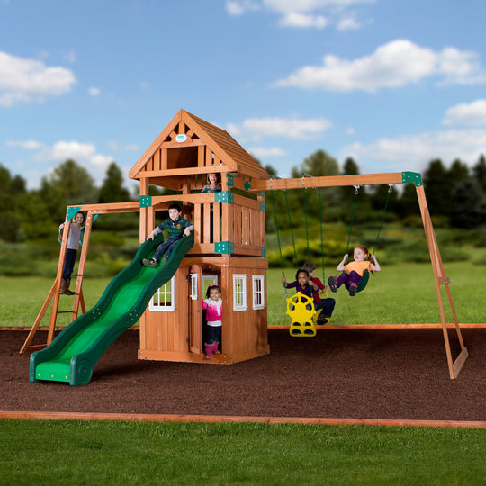 Backyard Odyssey Swing Sets - Castle Peak Wooden Swing Set#main