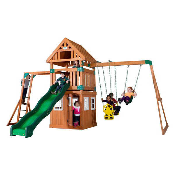 Backyard Odyssey Swing Sets - Castle Peak Wooden Swing Set #features