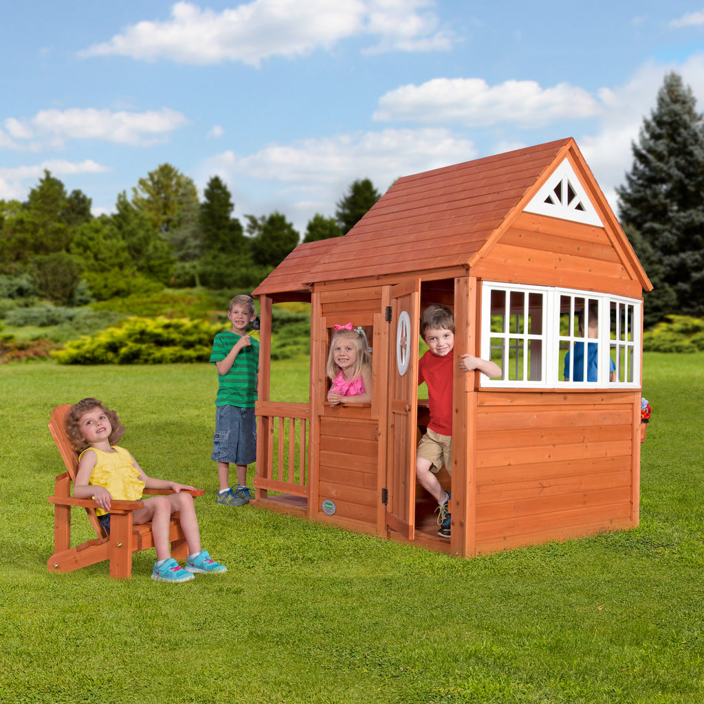 deluxe cedar mansion kids playhouse backyard discovery