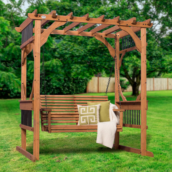 cedar pergola swing patio products backyard discovery. Black Bedroom Furniture Sets. Home Design Ideas