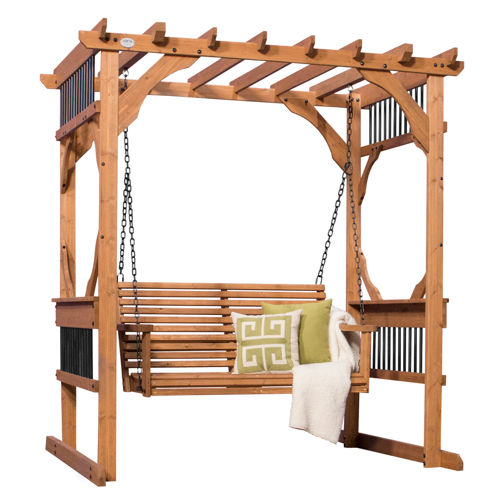 Cedar pergola swing patio products backyard discovery for Patio products