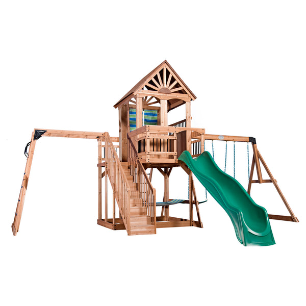 Backyard Discovery Playsets - Oceanview Wooden Swing Set #features