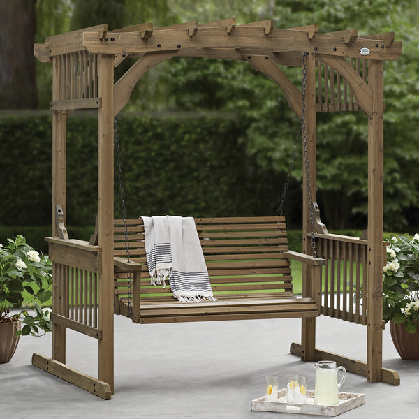Deluxe Pergola Swing Arched Roof