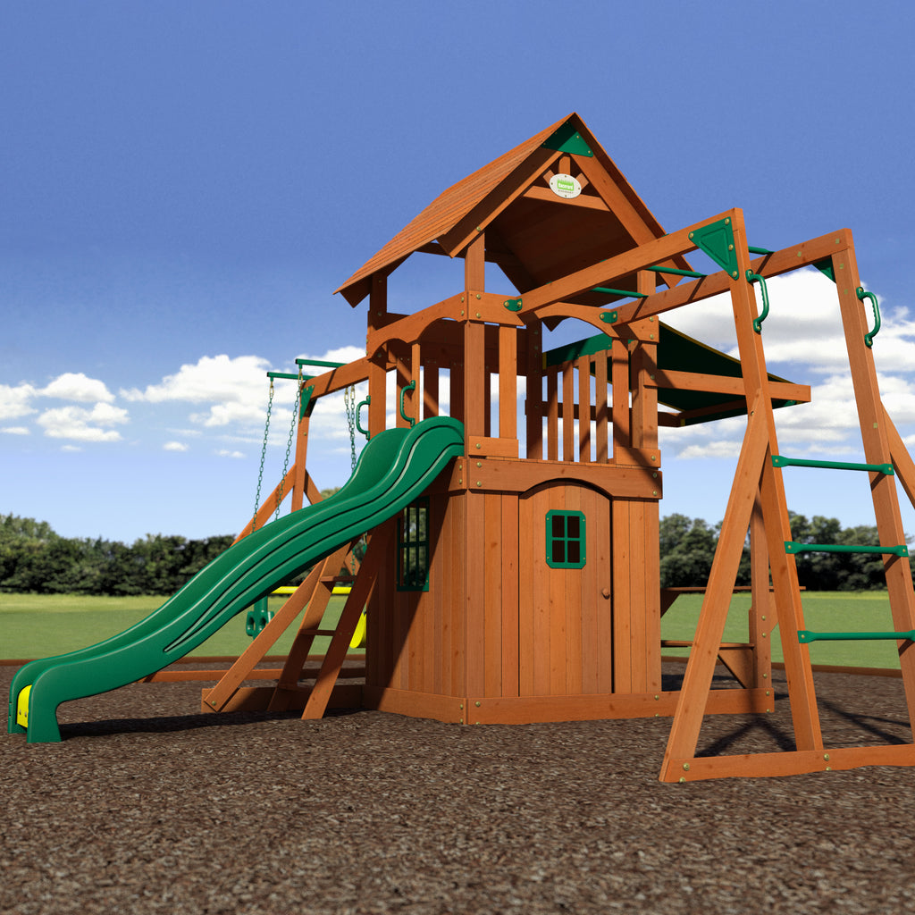 saratoga wooden swing set playsets backyard discovery