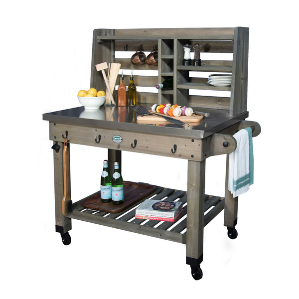 Patio Serving Cart Barn Stain#features