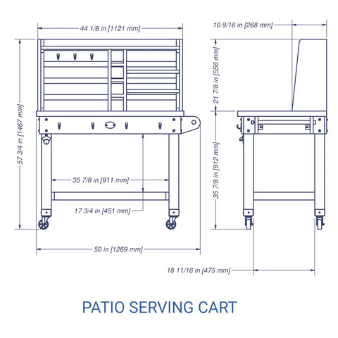 Patio Serving Cart Barn Stain#details
