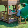 Skyfort With Tube Slide Wooden Swing Set Bench