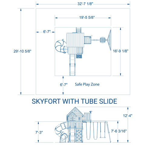 Skyfort With Tube Slide Wooden Swing Set #details