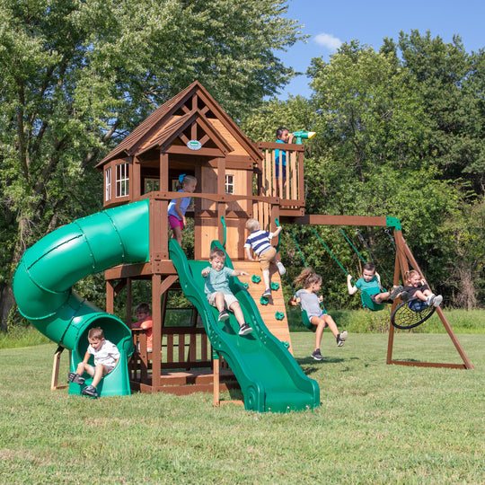 Skyfort With Tube Slide Wooden Swing Set #main